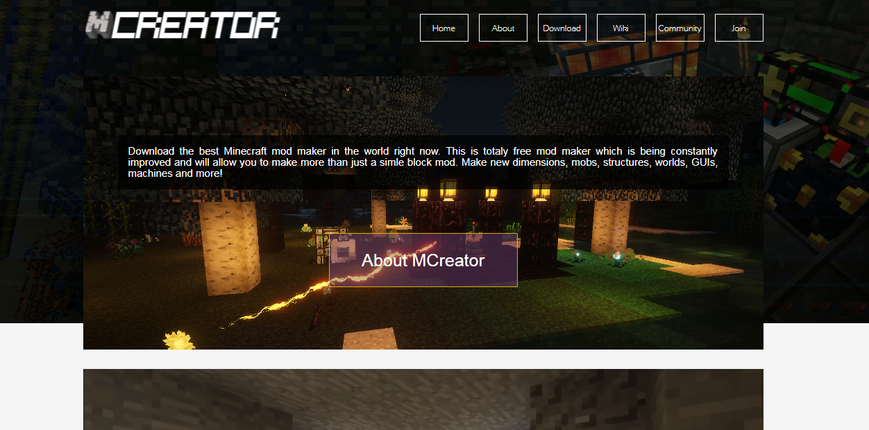 And picture of a MCreators website from a few years ago