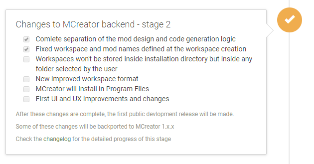 MCreator 2 roadmap at the time of 1.8.2 release