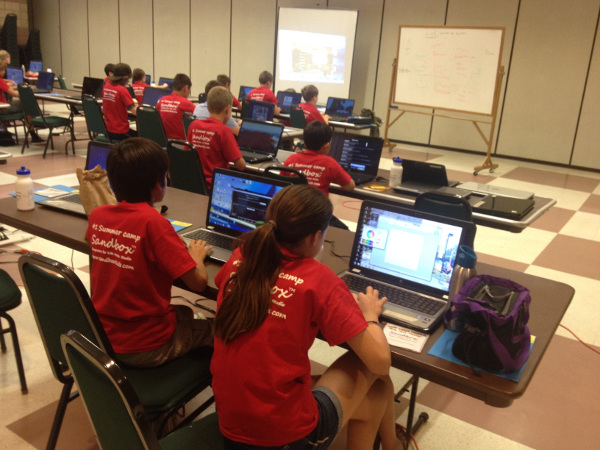 MCreator's workshop held by Sandbox4Kids. Students learning Minecraft modding and Java programming using MCreator.